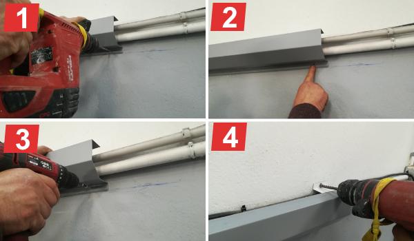 Montar cornisas para disimular cableado en fachada