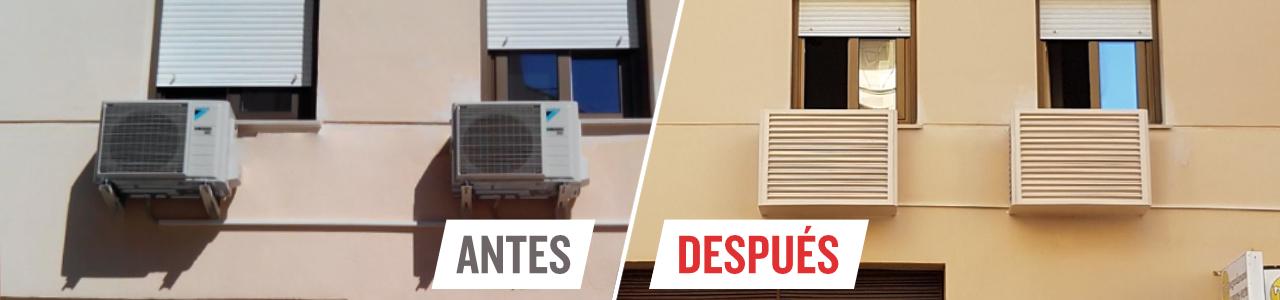 Cubiertas para tapar equipos de aire acondicionado en fachadas de viviendas